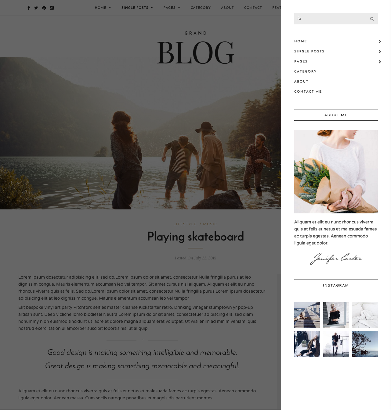 Playing skateboard   Grand Blog   Responsive Blog Theme