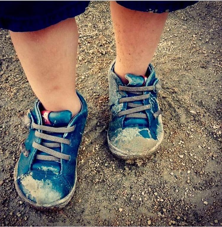 zapatillas con barro
