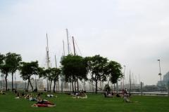 Turistas en el césped cercano al Puerto de Barcelona